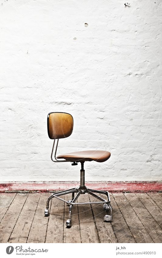 Loneliness Calm Wall (barrier) Office City life Wait Retro Grief Chair Moving (to change residence) Furniture Expressionless Hip & trendy Vintage Redecorate