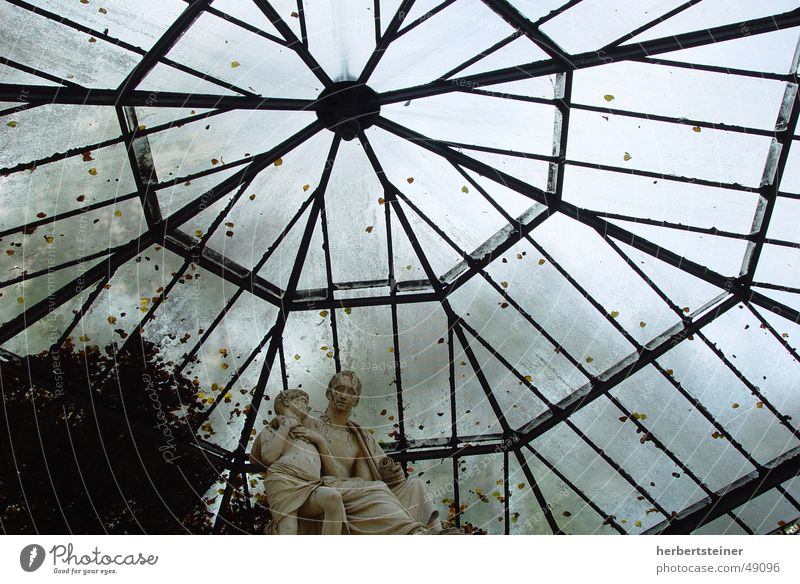 glass roof Glass roof Dark Autumn Grief To be silent Deserted Loneliness Insulation Roof Sky Cover Stone against the sky almost counter light