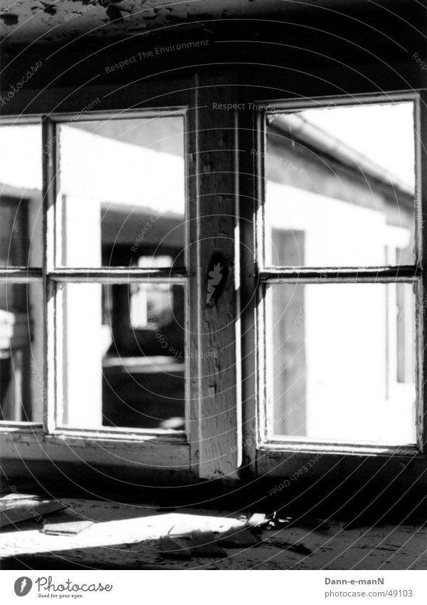 Window to the courtyard Black White Derelict Farm Contrast Old Loneliness