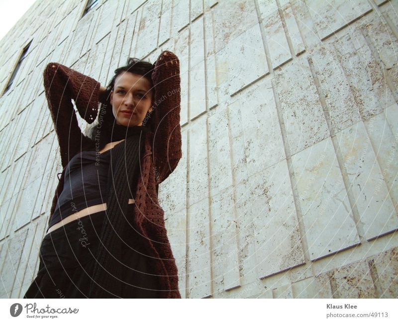 Woman Human being Beautiful Face Black Wall (building) Window Hair and hairstyles Concrete Facade Posture Dresden Alluring