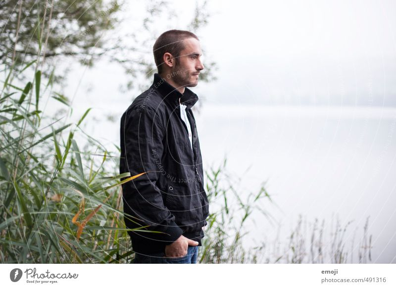achromatic Masculine Young man Youth (Young adults) 1 Human being 18 - 30 years Adults Environment Nature Autumn Fog Lake Natural Gray Colour photo