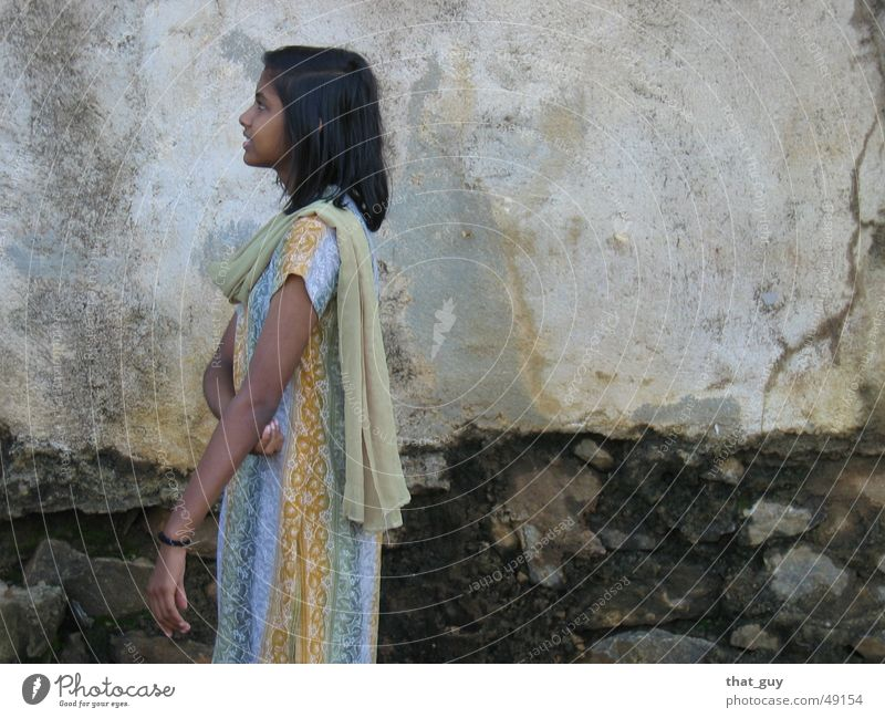 Looking to the future Girl Wall (building) Cape Multicoloured Future Portrait photograph Hope India Sri Lanka Hinduism Human being