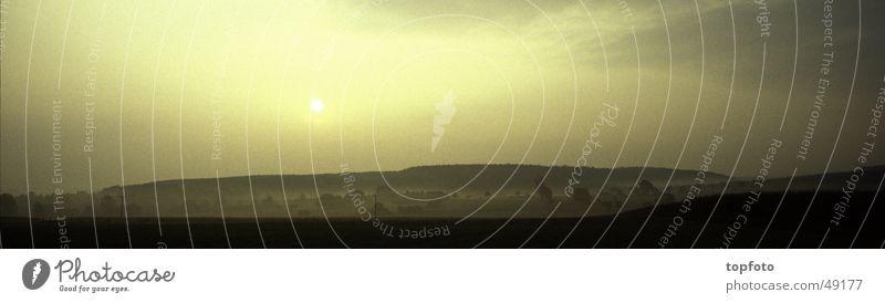 Sun Autumn Landscape Moody Fog Large Panorama (Format)