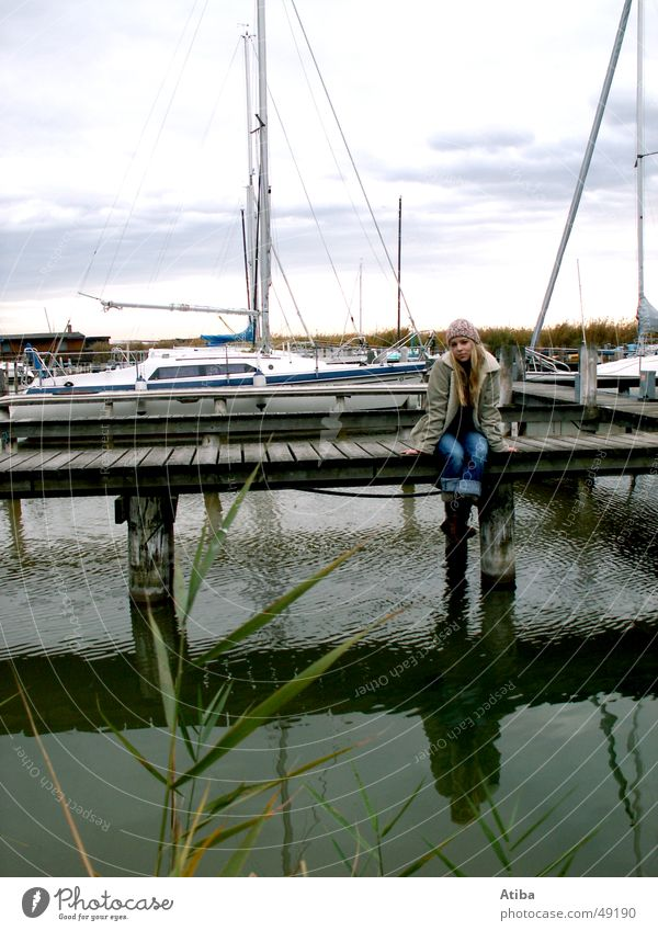 Woman Water Girl Beautiful Sky Blue Red Cold Autumn Lake Watercraft Blonde Sweet Mysterious Footbridge Sweater