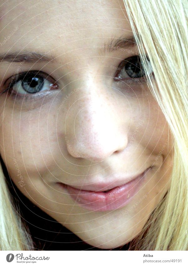 eye contact Girl Woman Blonde Sweet Beautiful Blue Eyes Mouth Nose Hair and hairstyles Looking Close-up Near Shadow Snapshot