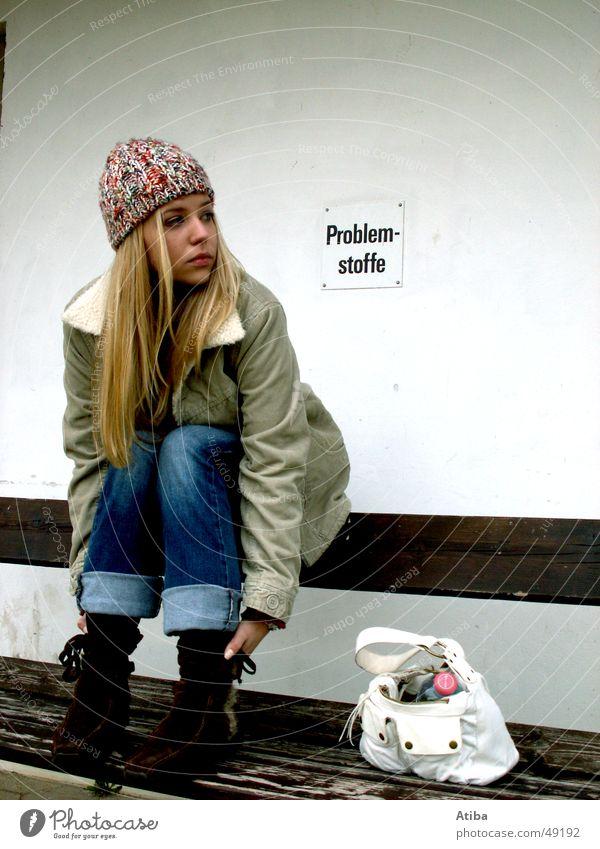 Problem substance: woman Girl Woman Blonde Cold Autumn Jacket Bag Cloth jean Bench Wait Sit