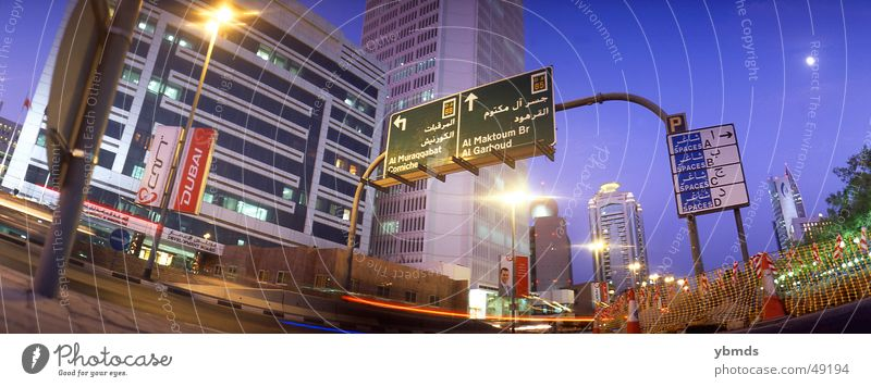 downtown Dubai United Arab Emirates Twilight Corniche Arabia Transport Evening Street Signs and labeling