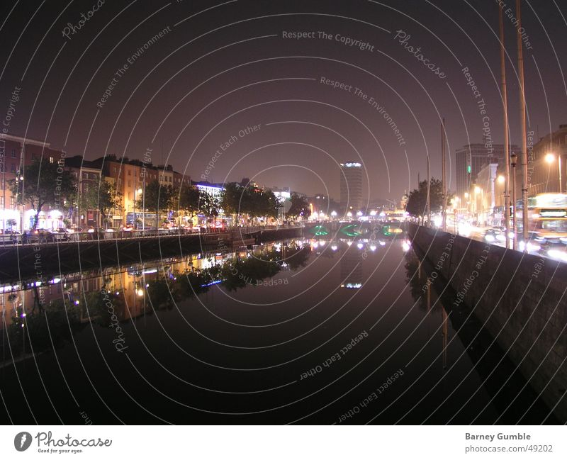 Dublin at night Night Reflection Liffey Light River Ireland