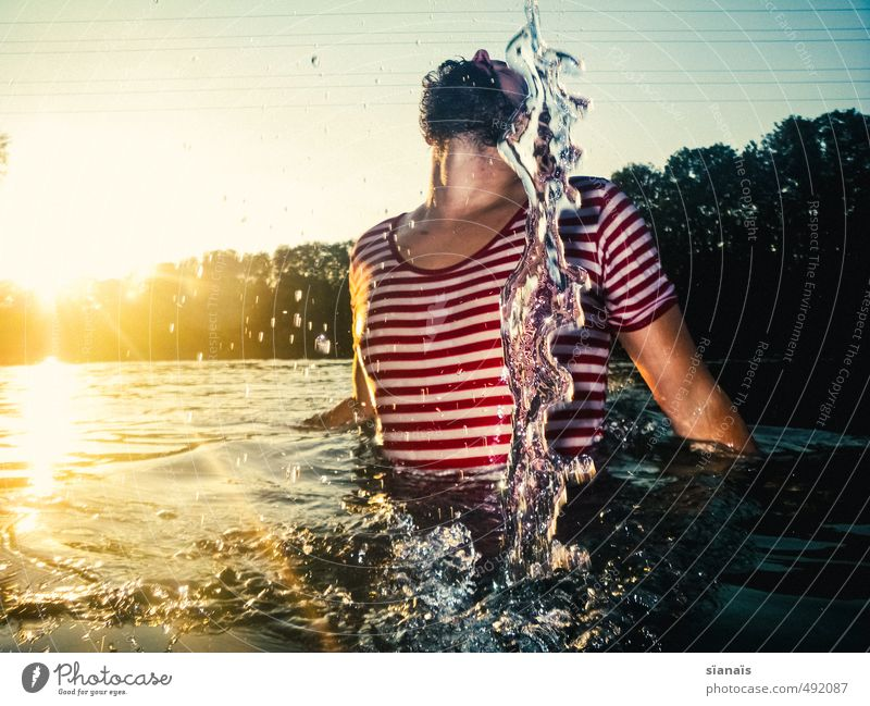 Moment Sculpture Vacation & Travel Summer Human being Masculine Man Adults Chest Environment Nature Water Beautiful Cool (slang) Power Brave Eroticism Posture