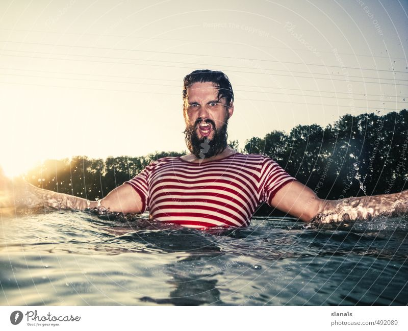 Human being Nature Vacation & Travel Man Beautiful Water Summer Environment Adults Swimming & Bathing Masculine Power Anger Facial hair Brave Switzerland