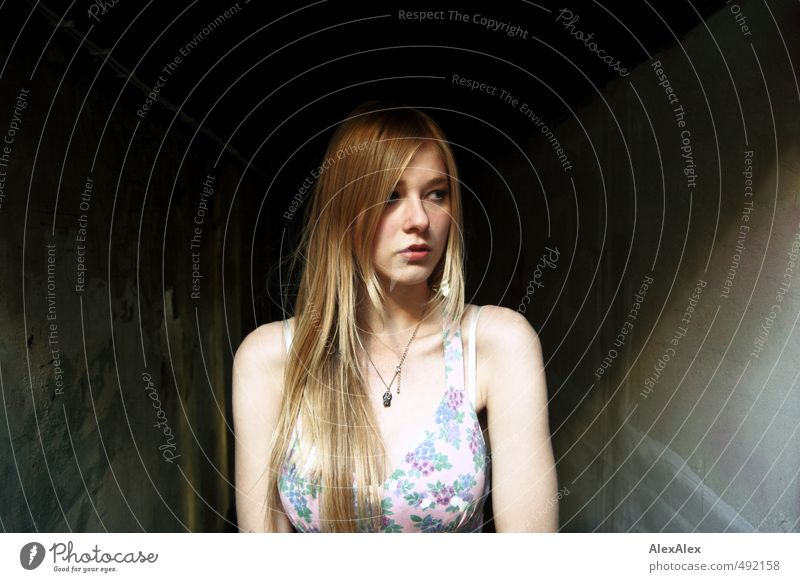 Child Youth (Young adults) Beautiful Young woman Face Wall (building) Feminine Hair and hairstyles Natural Moody Blonde Stand Perspective 13 - 18 years Concrete Esthetic
