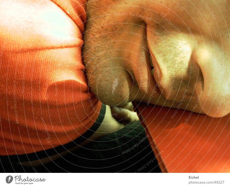 Sun Summer Face Calm Mouth Nose Table Fatigue Exhaustion Lifeless Designer stubble Orange-red