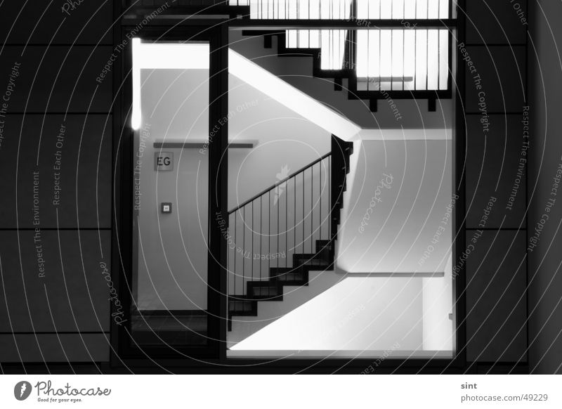Window Glass Door Stairs Entrance Hallway Staircase (Hallway) Dance floor Night shot Midnight