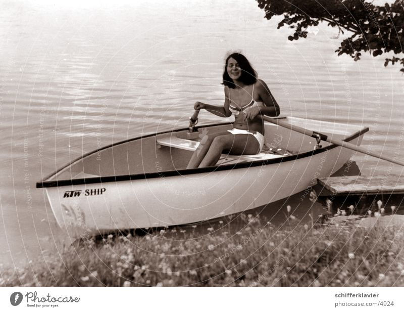 Woman Human being Lake Watercraft Historic Paddle