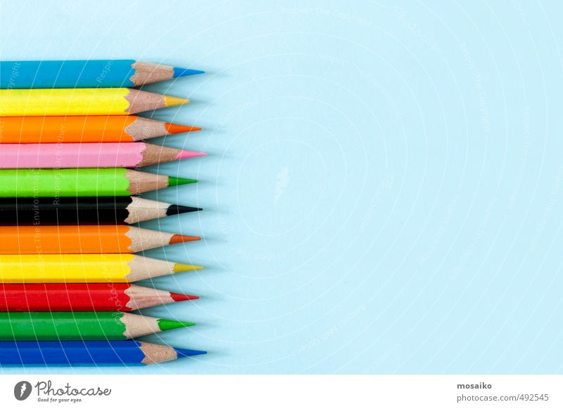 colored pens on blue background - serenity pastel tone Child Blue Green White Colour Red Yellow School Office Design Creativity Draw Pen Inspiration Rainbow Text