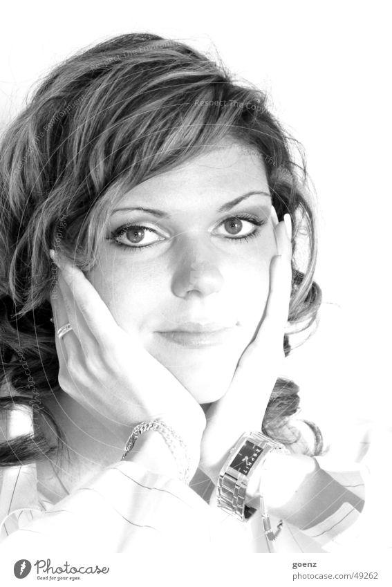 Woman Hand Beautiful White Face Black Eyes Mouth Beauty Photography Model Clock Longing Brunette Dreamily Earring Bracelet