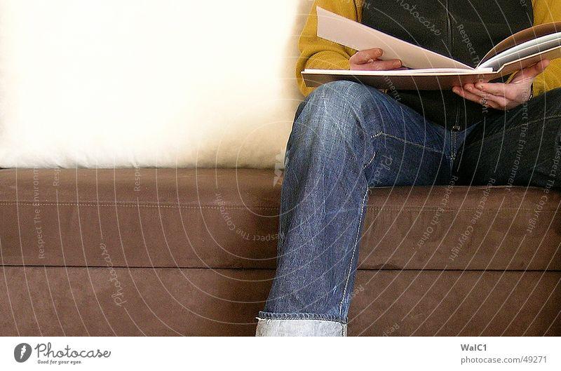 Man Hand Leaf Footwear Sit Wait Book Retro Jeans Reading Sofa Print media Sweater Sneakers Vest Waiting room
