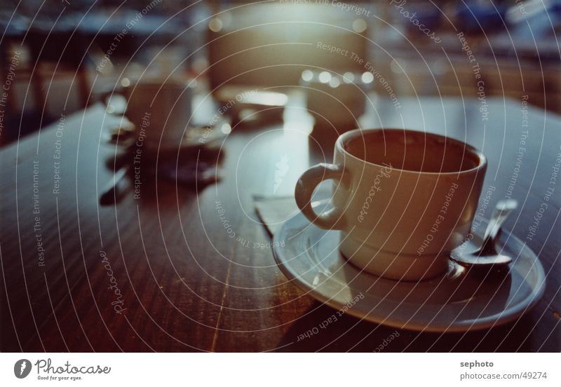 coffeeport Café Cup Spoon Sugar Table Majorca Saucer Structures and shapes Background picture Calm Longing Relaxation Back-light Goodbye Carry handle Cappuccino