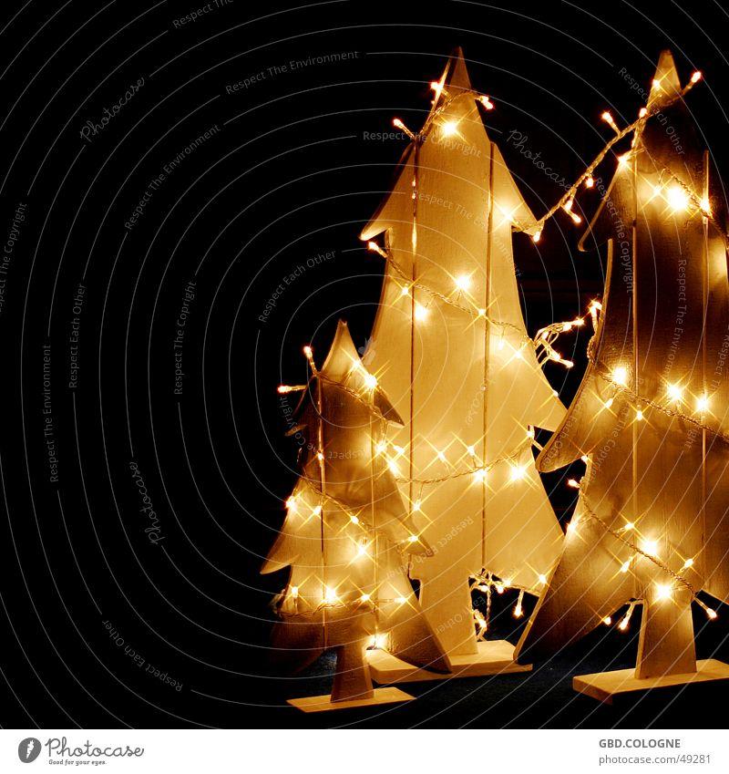 Christmas & Advent Winter Yellow Emotions Wood Lighting Moody Decoration Star (Symbol) Christmas tree Fir tree Cozy Light Christmas decoration Fairy lights Sea of light