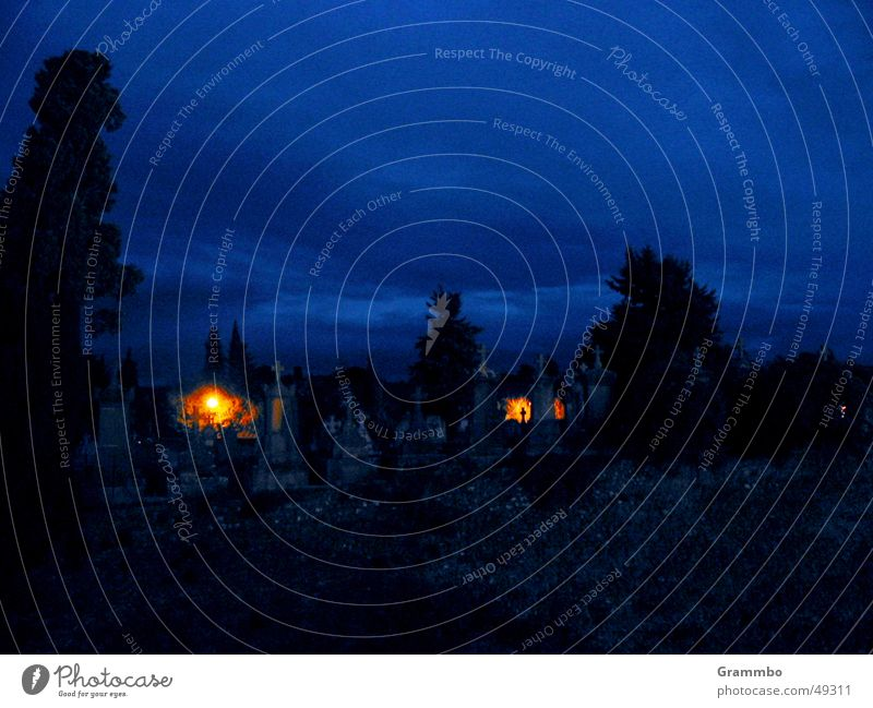 witching hour Cemetery Grave Candle Blue Death Back