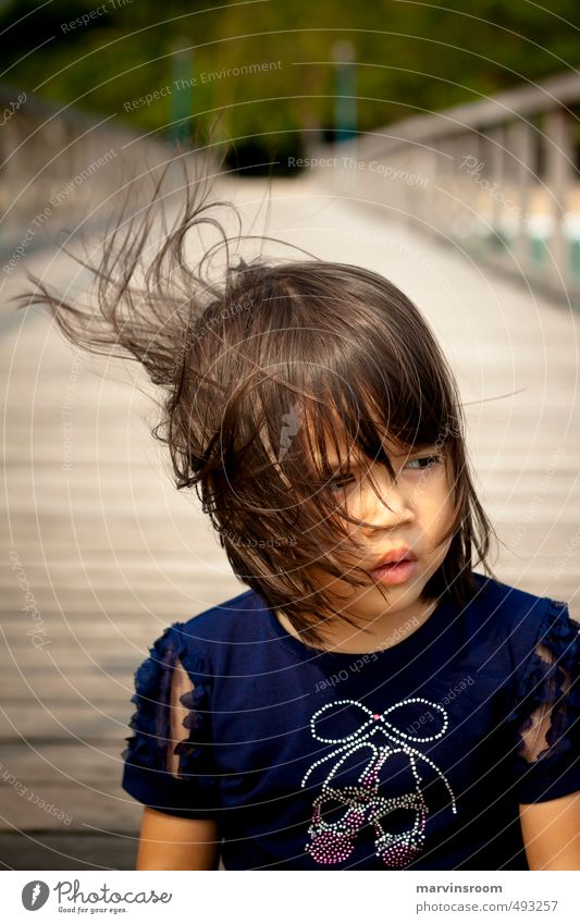gaze Beach Human being Child Girl Hair and hairstyles 1 3 - 8 years Infancy Think Beautiful Warm-heartedness Morning Light Looking away
