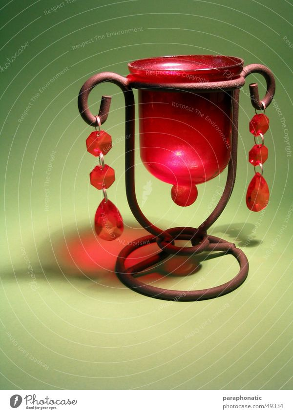 tealight holder Lamp Tea warmer candle Red Brown Green Light Illuminate Style Photographic table Interior shot Bright Old Kitsch granny's lamp Rust