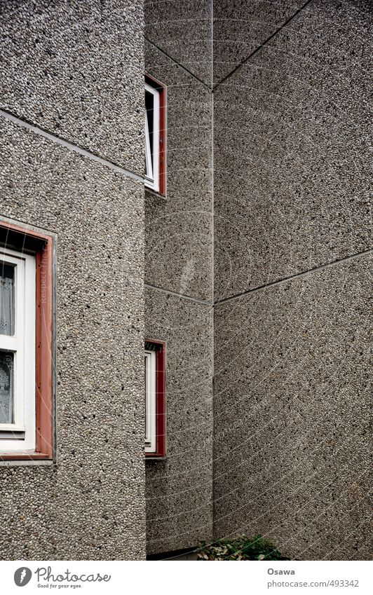 House (Residential Structure) Window Architecture Building Copy Space Facade Gray Gloomy Concrete Apartment Building Tower block Prefab construction