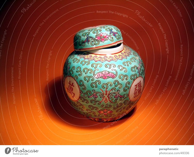 Orange China Gully Vase Containers and vessels Chinese Urn Photographic table China vase