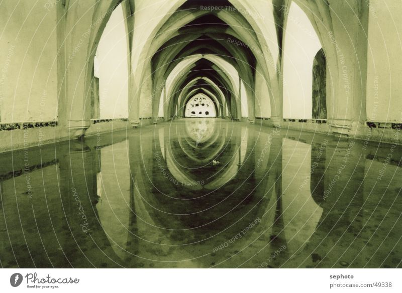 underground villa Hello Mirror Lake Garden Subsoil Tunnel Reflection Background picture Moody Calm Fountain Contentment Middle Light Underground Cold Seville