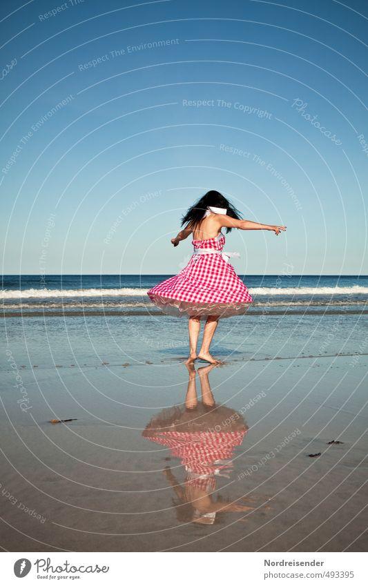 Dancing woman in dirndl on the beach Lifestyle Elegant Style Joy Contentment Summer Sun Waves Dance Human being Woman Adults Dancer Beach Ocean Fashion Dress