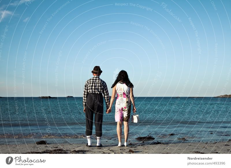 Harmless.... Lifestyle Vacation & Travel Tourism Retirement Human being Woman Adults Man Couple 2 Beautiful weather Beach Ocean Clothing Observe Stand Wait