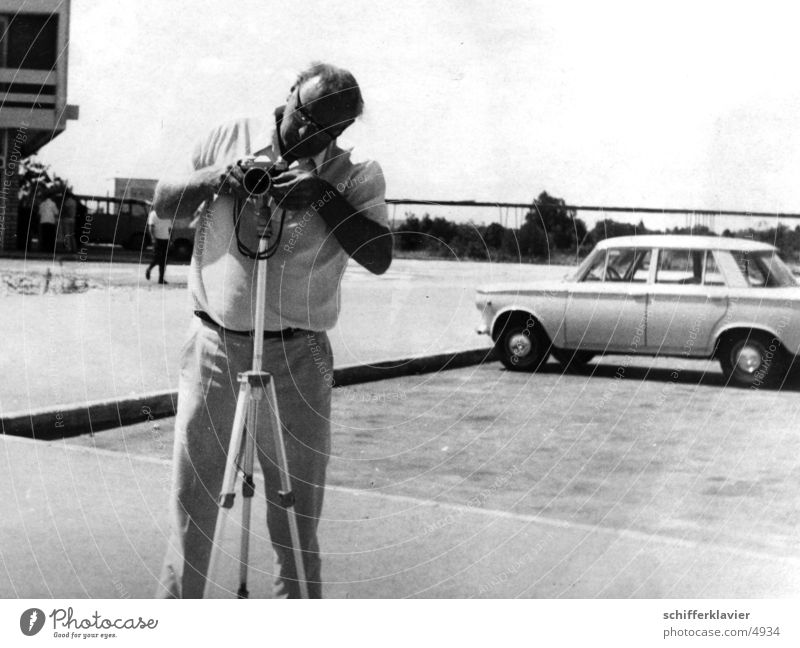 Man Car Photography Camera Historic Tripod