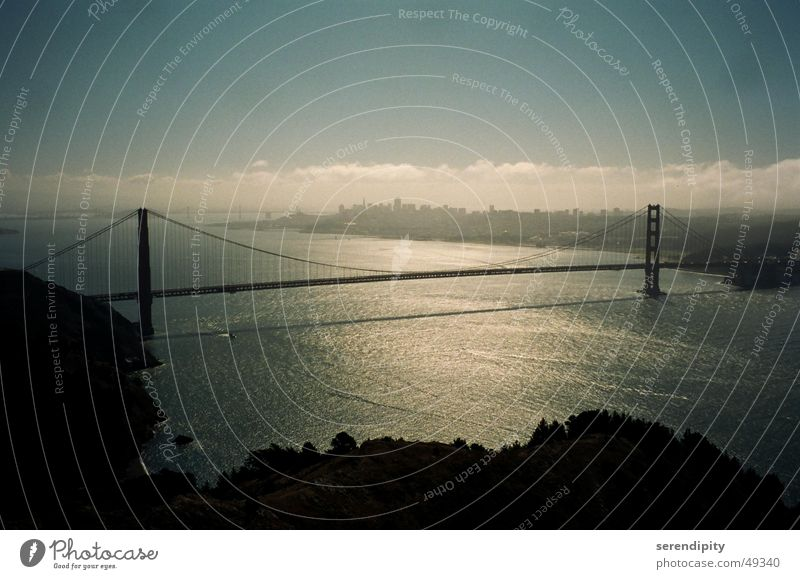 the bridge Golden Gate Bridge San Francisco California Fog in the morning Bay Street Highway Water reflection