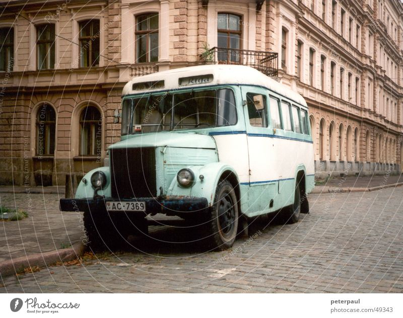 Bus Riga Vintage car Means of transport Pavement Roadside Town Latvia Eastern Europe Street Baltic region