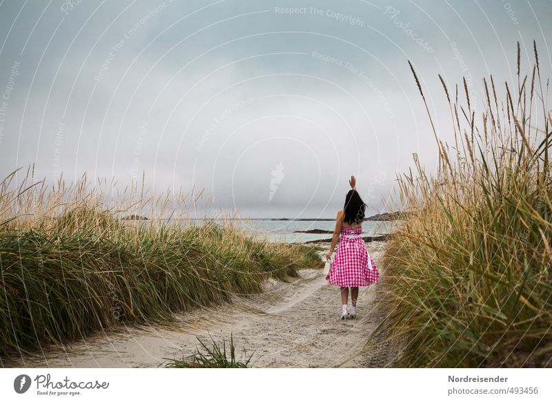 Arrival... or goodbye? Lifestyle Style Beautiful Harmonious Senses Vacation & Travel Ocean Human being Woman Adults Clouds Grass Coast Lanes & trails Dress