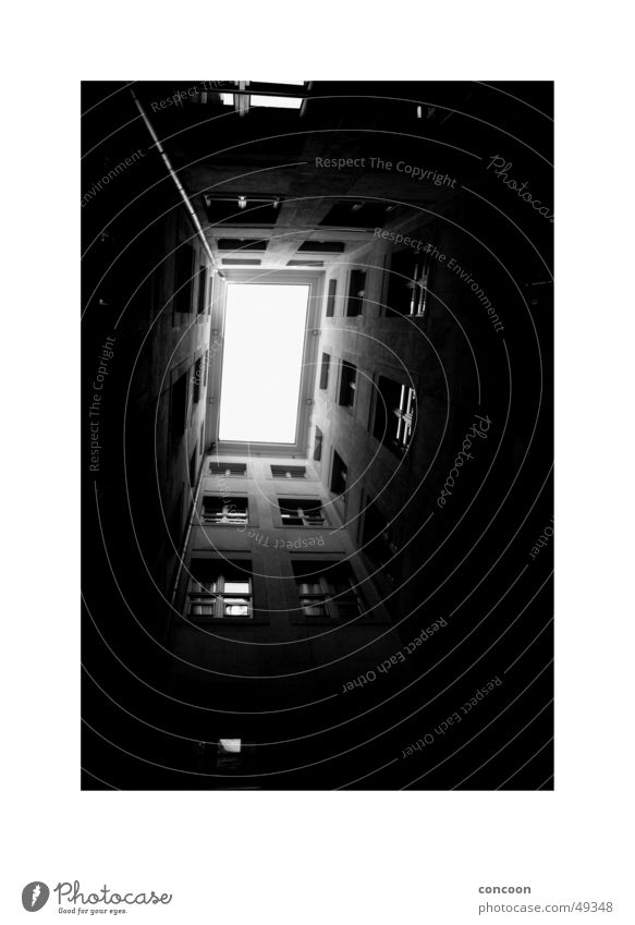 light Backyard Window Tunnel Interior courtyard Column Perspective B/W Black & white photo Above Penitentiary