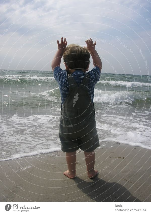 The little man and the sea Child Toddler Ocean Waves Beach Vacation & Travel Summer Baby Denmark Boy (child) Water Sand Sun Baltic Sea