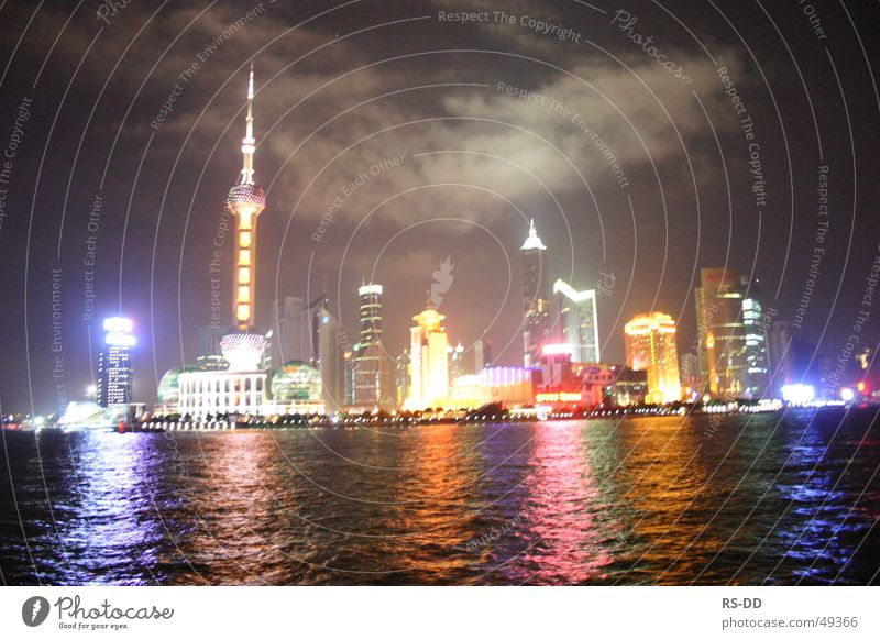 Water China Skyline Night Shanghai Huang Pu river