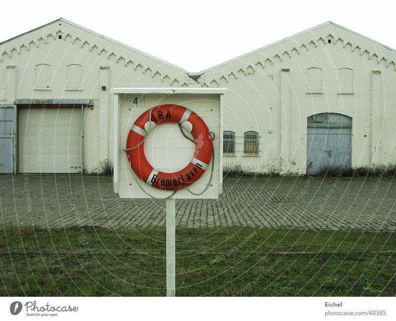 Loneliness Cold Closed Factory Harbour North Sea Bremen Sparse Life belt Extinct Bremerhaven