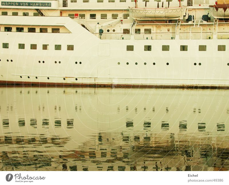 mirror ship Watercraft Reflection Bremerhaven Ocean Cruise Innocent Pensive Harbour North Sea Vacation & Travel Calm