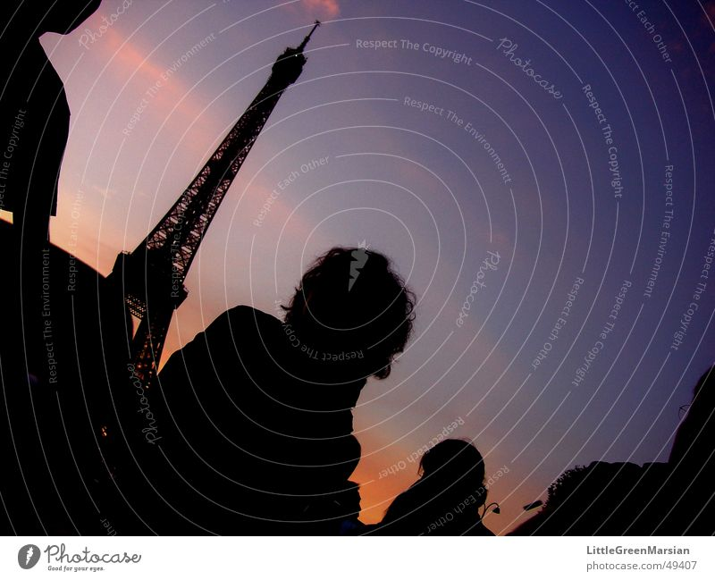 Picnic at the Eiffel Tower Paris Twilight Dark Silhouette Clouds Sunset Light Human being Evening Dusk Colour silouettes Shadow