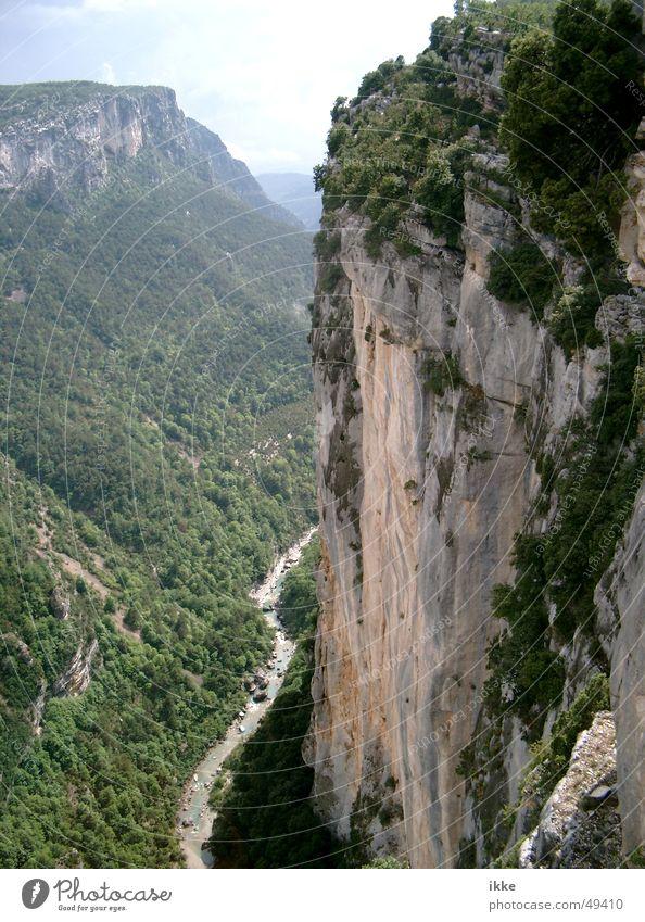 Verdun Canyon Slope Steep face Deep Provence France Ledge Brook Mountain stream Sandstone Wall (building) River Climbing Ground Landscape Rock Kreidefelsen