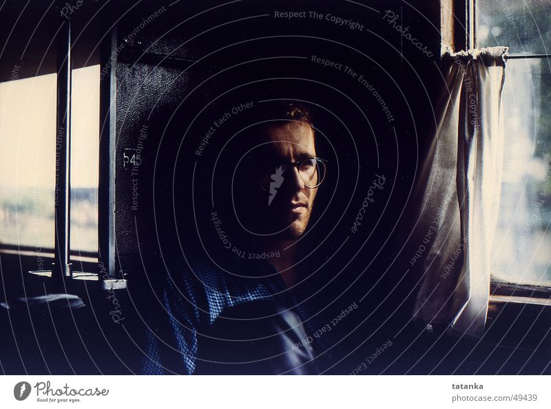 voyage Railroad tracks Driving Vacation & Travel Soviet Union Fatigue Shadow Face Sadness