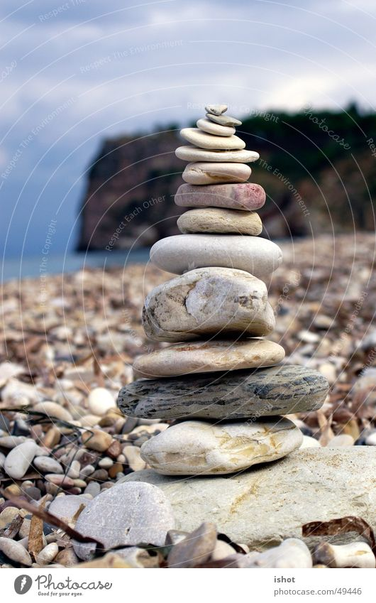Ocean Beach Stone Contentment Tower Italy Harmonious Build Fragile Cairn