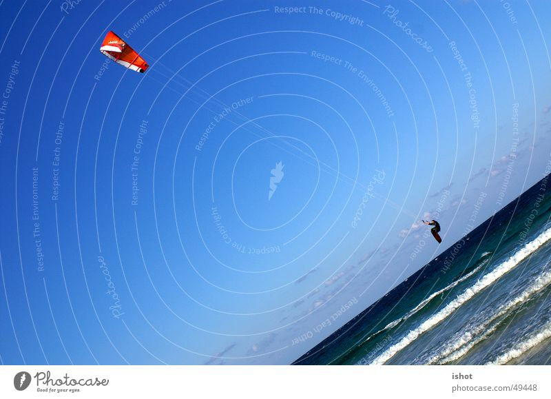 kitesurf Kiting Jump Ocean Parachute Speed Action flysurf Blue Sports Sky fun Thrill