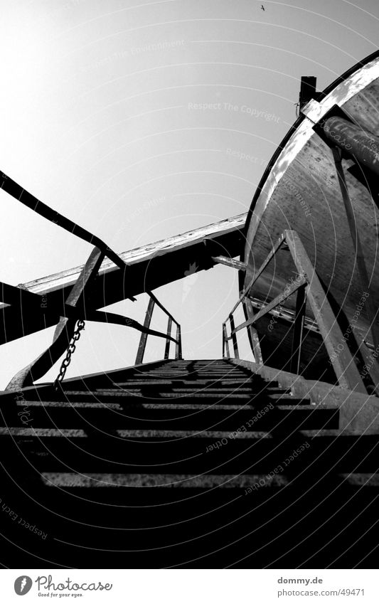 get up Als Gravel plant Funnel Black White Stairs Rust old conveyor belt Black & white photo