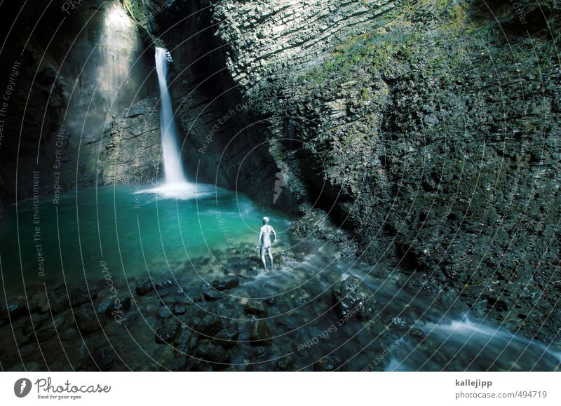 my darling! Human being Masculine Man Adults Life Body 1 30 - 45 years Environment Nature Landscape Water Rock Brook Waterfall Blue Green Slovenia Small