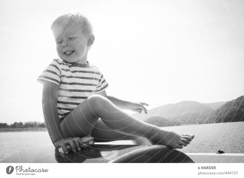 Human being Child Nature Water Summer Landscape Mountain Emotions Boy (child) Happy Lake Masculine Glittering Infancy Contentment Sit