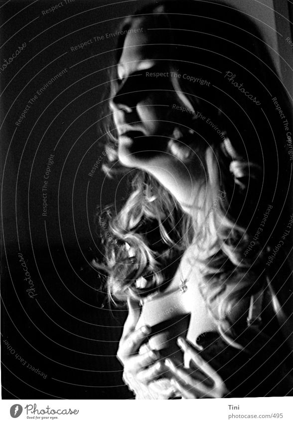 Woman Human being Hand White Black Style Underwear Portrait photograph