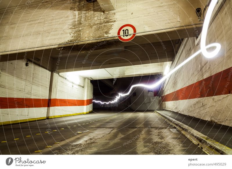 Park Light System Parking garage Street Tunnel Road sign Light (Natural Phenomenon) Radiation lightning bolt Movement Illuminate Speed Town Electricity